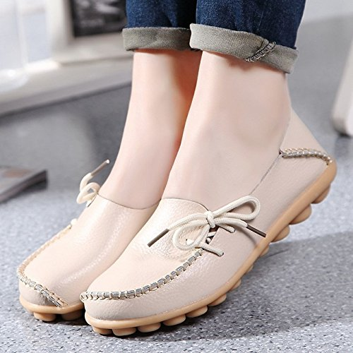 Loafers 1 Sty Flat ONS Women's Beige Fangsto Slip Slipper Cowhide Shoes Leather 4zvIq