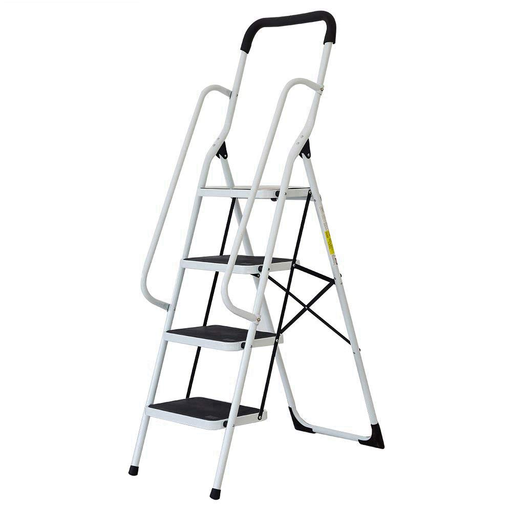 Livebest 4 Steps Ladder Folding Step Stool with Hand Grip Non-slip Safety Rails Portable Heavy Duty 330 lb Load Capacity,Iron,Household Kitchen Use