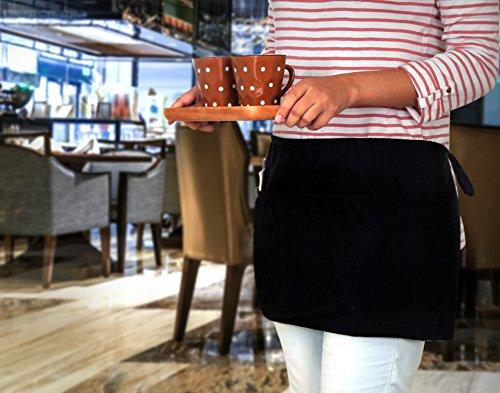 Utopia Kitchen 3 Pockets Waist Apron (Set of 12, Black, 24 x 12 inches) - Restaurant Half Aprons, Bartender Apron, Money Apron, Check Holder by Utopia Kitchen (Image #6)