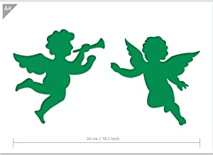 Christmas Angels Stencil - A4 Size - Christmas Decoration - Reusable Kids Friendly Stencil for Painting, Windows, Crafts, Wall, Furniture