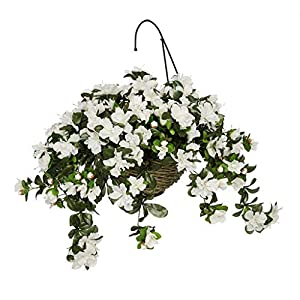 House of Silk Flowers Artificial Azalea Hanging Basket, White 8