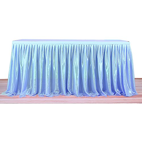 iSincere Table Skirt Tulle Table Skirt Round/Rectangle Tutu Table Skirt for Halloween,Party Decoration, Birthdays, Wedding, Baby Shower and Home Decor (Blue, L 6(ft) H -