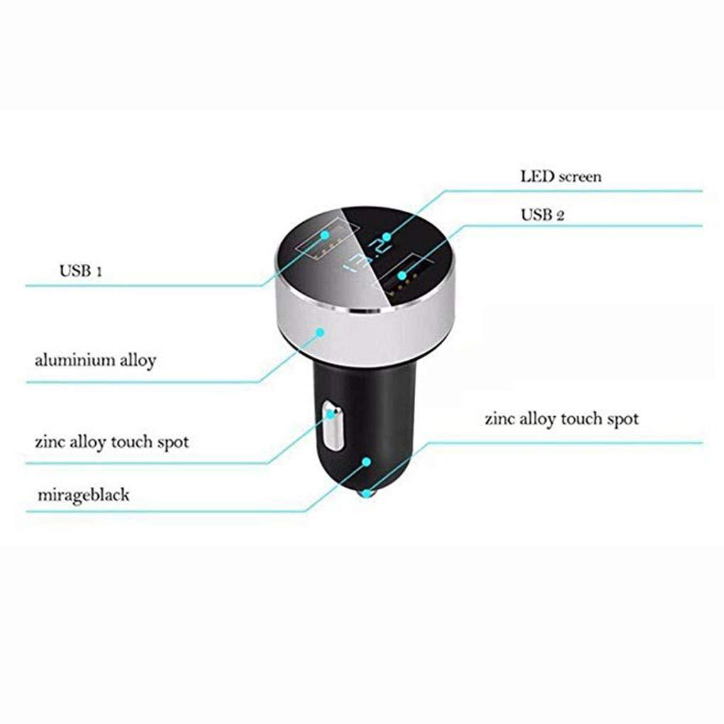 Morza Dual USB 5V 3.1A Display caricabatteria da Auto in Lega di Alluminio Multi-Funzione di Halo visualizzatore Digitale Caricatore da Auto