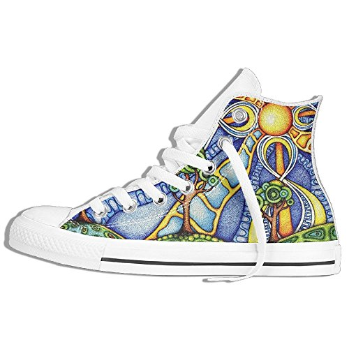 Classic High Top Sneakers Canvas Shoes Anti-Skid Art Tree And Sun Casual Walking For Men Women White Ff2Vr