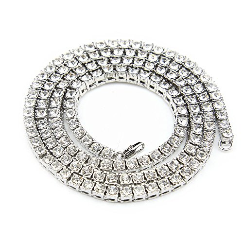 Single Row Chain - MCSAYS Fashion Hip Hop Iced-Out Tennis Chain Single One Row CZ Crystal Bling Bling Gold Plated Sterling Silver Black Necklace Stainless steel