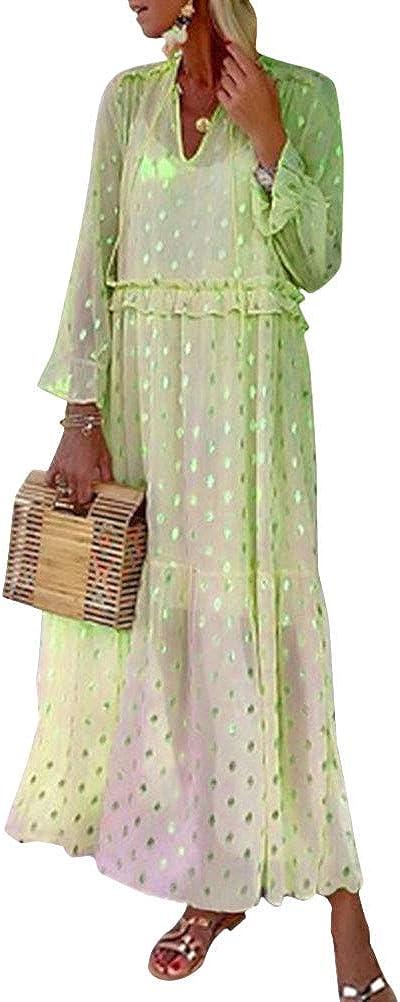 ORANDESIGNE Robe Longue Femme L/âche Manches Longues /Ét/é Boho Deep V Neck Robe De Plage /À Pois Robe De Soleil Maxi Grande Taille