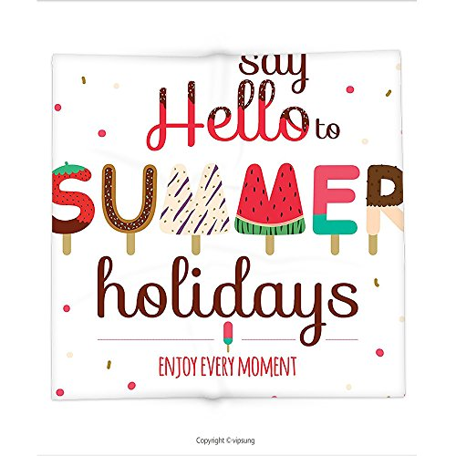 Custom printed Throw Blanket with Lifestyle Decor by Say Hello to Summer Holidays Enjoy Every Moment Phrase with Ice Cream Image Multi Super soft and Cozy Fleece Blanket (Every Halloween Icp)