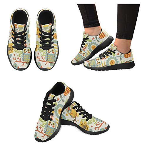 InterestPrint Womens Jogging Running Sneaker Lightweight Go Easy Walking Casual Comfort Running Shoes Cute colorful Floral Seamless Pattern With Owl and Bird Multi 1 tifo0fX