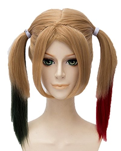 Harley Quinn Hairstyle (Tsnomore Curly Middle Length Ponytails Suicide Squad Harley Quinn Cosplay Wig (Brown/Black/ Red))