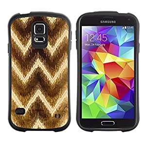 Suave TPU Caso Carcasa de Caucho Funda para Samsung Galaxy S5 SM-G900 / Chevron Brown Pattern Yellow / STRONG