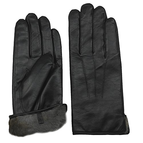 Men's Rabbit Fur Lined Sheepskin Leather Gloves by Arosa | Butter Soft Luxurious by AROSA