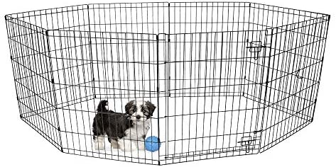 BV Pet 30 H Foldable Exercise Pen Dog Playpen, 8 Panels with Single Door