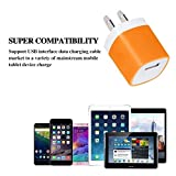 Wall Charger, 3-Pack 1A/5V Two-Tone Universal USB Ac Wall Travel Power Charger Adapter for iPhone 7/7 plus 6/6 plus 5S 5 4S Samsung S5 S4 S3, Note 5, HTC, LG and More Device (3 Random Colors)