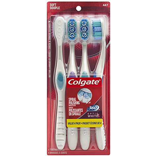Colgate 360 Optic White Whitening Toothbrush, Soft – 4 Count