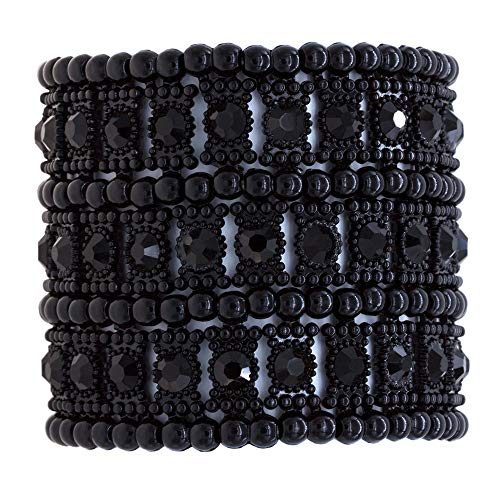 Lavencious 3 Rows Stretch Bracelet Crystals Fashion Trendy Jewelry Party Prom for Women (Black Jet) - Jet Tone Faceted Silver