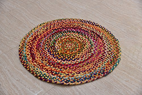 Hand Woven Reversible Cotton Multi Color Braid Rag Rug - 3 Feet Round - This Rug is made from multi color re-cycled yarns, actual product may vary in color from the image shown