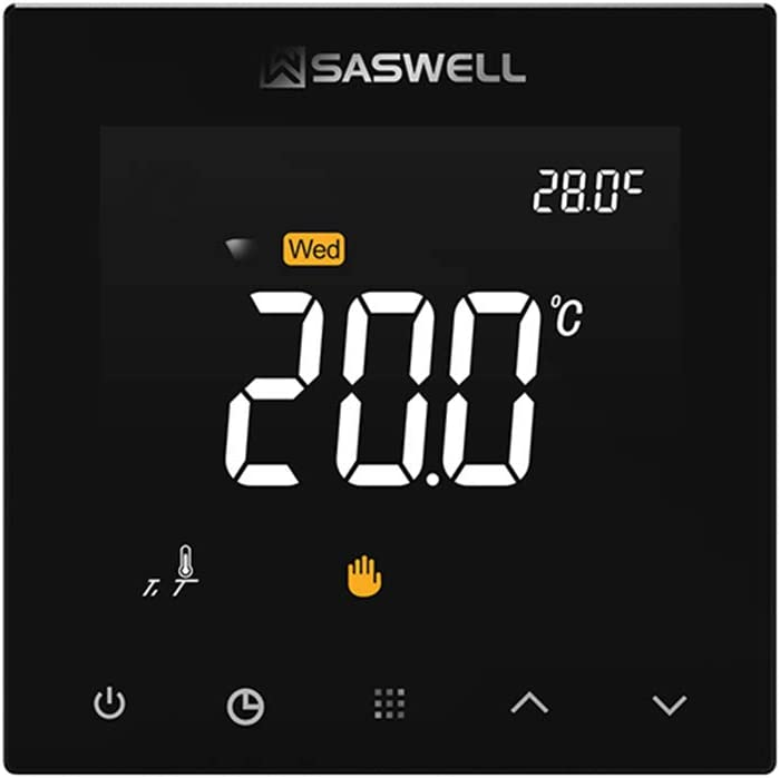 for Water Heating SAS922WHL-7W-S-WIFI(Black) Wall Hanging Furnace,7 Days Programmable Digital Thermostat Water Pump Electric Heat Actuator SASWELL WiFi Smart Thermostat Control Water Valve