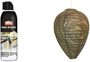 Ortho Home Defense Hornet & Wasp Killer7, 16 Oz & Patio Eden by Maad Brands - Wasp Nest Decoy - 3 Pack- Eco Friendly Hanging Wasp Repellent