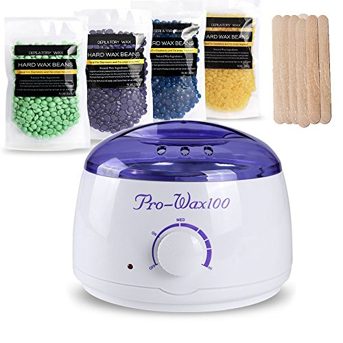 Hair-Removal-Waxing-Kit-Electric-Wax-Warmer-Heater-with-Hard-Wax-BeansTea-Tree-LavenderHoneyChamomile-and-Wax-Applicator-Sticks