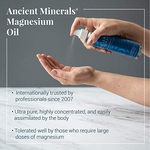 Ancient Minerals Magnesium Oil Spray Bottle of Pure Genuine Zechstein Magnesium Chloride - Topical Magnesium Supplement for Skin Application and Dermal Absorption (4oz)