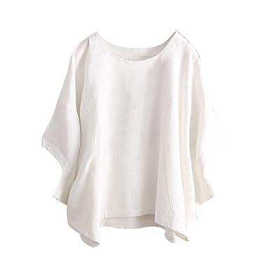 470aa8f8444e Weant Donna Estate Maglietta T Shirt Moda Casual Retro Lino Casual Manica  Corta Tops Camicetta Tinta Unita Taglie Forti Canotta Vest Elegante Donne  Vestiti ...