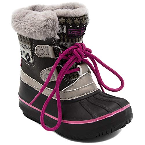 LONDON FOG Girls Toddler Tottenham Cold Weather Snow Boot GY/PK Size 6 Toddler Grey/Pink