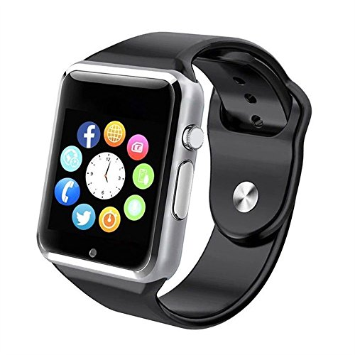 Bluetooth Smart Watch A1 – WJPILIS Touch Screen Smart Wrist Watch Smartwatch Phone with SIM Card Slot Camera Pedometer Sport Tracker for IOS iPhone Android Samsung LG for Men Women Child (Silver)