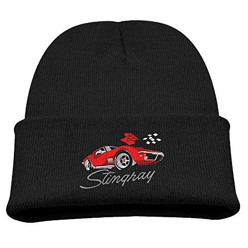Big Girls' Toboggan Hat Hipster Beanie Winter Corvette Woolen Cap CapsBeanies BaseballCap Black