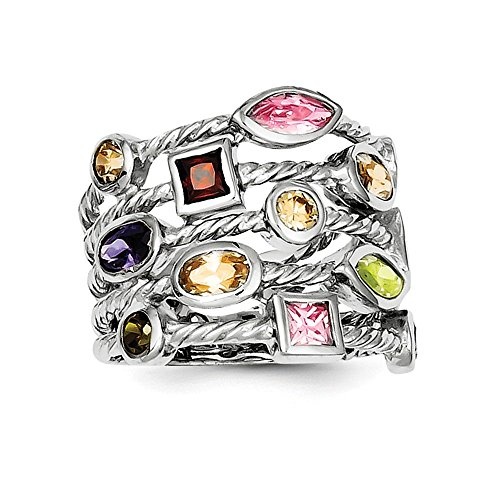 Multi Color Gems Ring (Sterling Silver Multi-Color, Multi-Shaped Gem 5-Strand Ring Size 7)