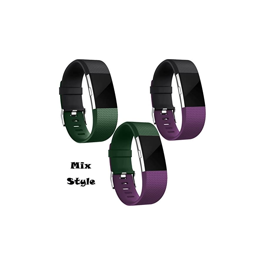 Wepro Replacement Bands for Fitbit Charge 2 HR, Buckle, Tarmac, Small