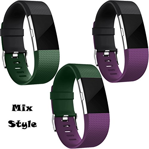 Wepro Replacement Bands for Fitbit Charge 2, 3 Pack Fitbit Charge2 Wristbands, Small, Black, Plum, Tarmac