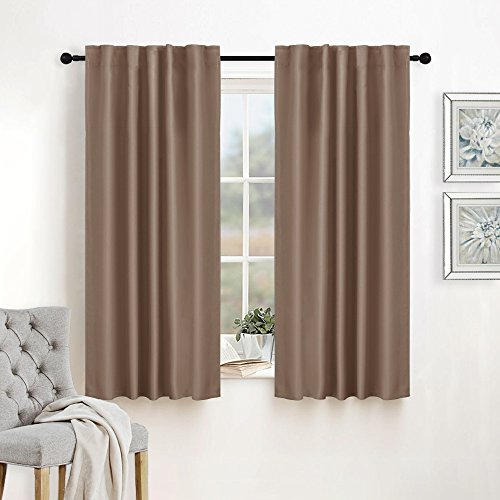 RYB HOME Sunlight Block Thermal Blackout Curtains Room Darkening Drapes Rod Pocket/Back Tab Top Design Versatile Haning for Bedroom/Kitchen, Wide 42 x Long 45 inch, Mocha, 2 Panels - Hanging Pleated Drapes