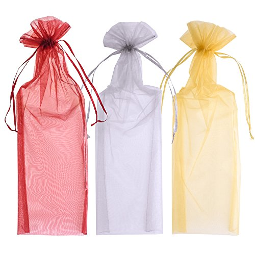 Blulu Organza Wine Bottle Bags Wine Gift Bags 6.5 by 15 inch, Gold, Silver and Wine Red, 24 Pieces