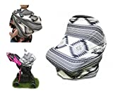 Nursing Breastfeeding Cover Scarf Aztec Grey, multi use 4 in 1, Stretchy Baby Car Seat Canopy, Shopping Cart, High Chair, Stroller, Perfect Baby Shower Gift for Boys and Girls