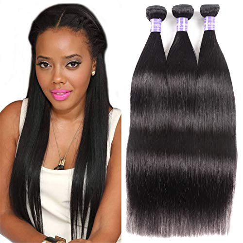 YIROO 7A 8 10 12 Inch Brazilian Virgin Straight 3 Bundles of Hair Deal 100% Unprocessed Human Remy Hair Natural Black Color Double Weft Full and Bouncy Tangle Free(8 10 12inch) ()