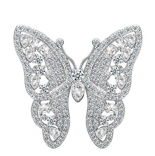 Onefeart Platinum Plated Brooch for Women Oval Cubic Zirconia Butterfly Shape Princess Style for Lady 38x42MM Silver
