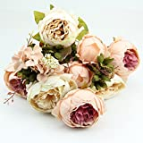 10 Head Bouquet Vintage Artificial Peony Silk Flower Room Wedding Floral Decor DIY (Beige+Pink)