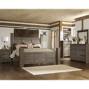 FurnitureMaxx Juararoy Casual Dark Brown Color Replicated Rough-Sawn Oak Bed Room Set, King Poster Bed, Dresser, Mirror, Nightstand