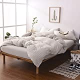DOUH Jersey Knit Cotton Striped Duvet Cover Set King Size Light Brown Reversible Striped Comforter Cover 3 Pieces Bedding Set(1 Duvet Cover + 2 Pillow Shams),Simple Stripes Design