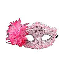 Sheer Lace and Floral Mardi Gras Masquerade Costume Mask,pink