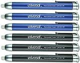 Universal 55106 Pen-Style Retractable Eraser, Blue;Black, 6/Pack