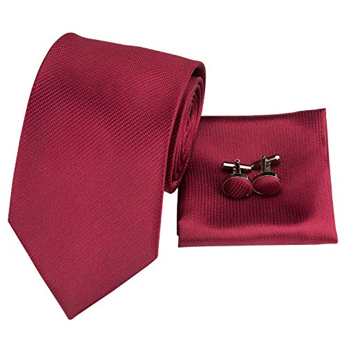 (Hi-Tie Men Classic Red Solid Check Paisley Stripes Tie Necktie with Cufflinks and Pocket Square Tie Set (Burgundy))