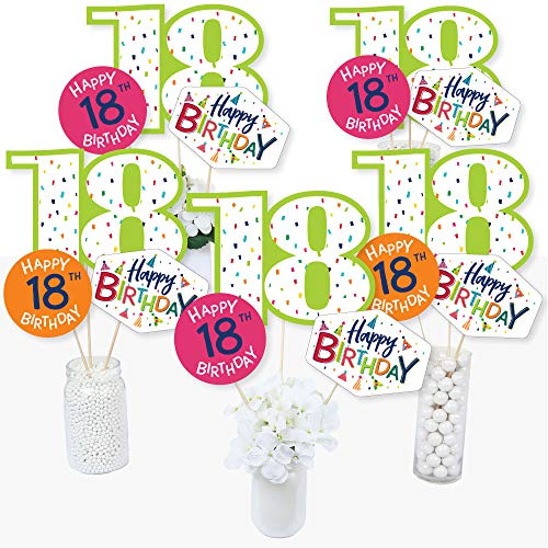 18th Birthday - Cheerful Happy Birthday - Colorful Eighteenth Birthday Party Centerpiece Sticks - Table Toppers - Set of 15 -