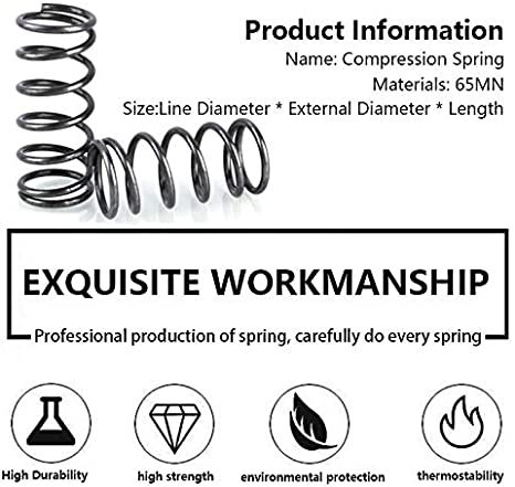 Length 20mm-50mm 5Pcs External Diameter 15mm 5Pcs Pressure Spring Compressed Spring Retruen Spring Line Diameter 2.5mm Size : 45mm