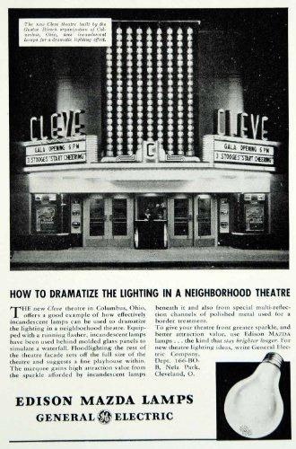 1939 Ad Edison Mazda Lamps GE Cleve Movie Theatre Marquee Lighting Columbus Ohio - Original Print Ad from PeriodPaper LLC-Collectible Original Print Archive