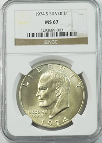 1974 S Eisenhower Silver Dollar 40% Silver San Francisco $1 MS67 NGC