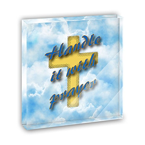 Handle It With Prayer Cross and Clouds Acrylic Office Mini Desk Plaque Ornament Paperweight