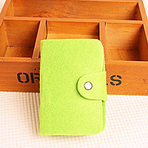 (Men Women ID Credit Card Holder Money Pocket Case Mini Purse Slim Thin Wallet A (Color - #2 Green Felt Buckle Card Ho.))