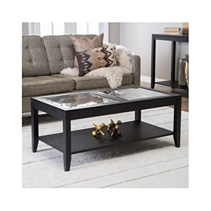 Amazon.com: Glass Top Coffee Table with Quatrefoil Underlay ...