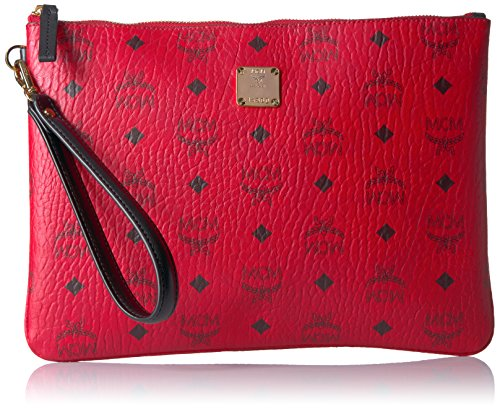 MCM Stark Pouch With Wristlet Wristlet (RED) by MCM